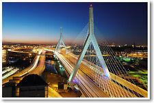 Boston Massachusetts - Zakim Bridge at Night - Travel US Cities - NEW POSTER