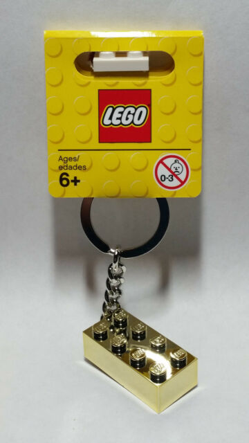 LEGO Chrome Gold Golden 2x4 Brick Keychain Key Ring 850808 NEW Limited Edition