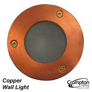 Round Copper Recessed Exterior Wall Light 12v 35w Mr16 Low