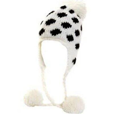 84826e434 Ladies Hat White Black Polka Dots Spots Peruvian Ear Flaps Pom Pom Fleece  Lined | eBay