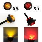 """3/4"""" Round (5) Amber (5) Red LED Turn Signal Kit Side Marker Tail Light 12V 24V"""