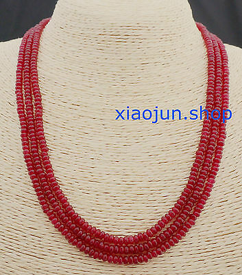 FINE NATURAL 3 Rows 2X4mm FACETED RED RUBY GEMSTONE BEADS NECKLACE