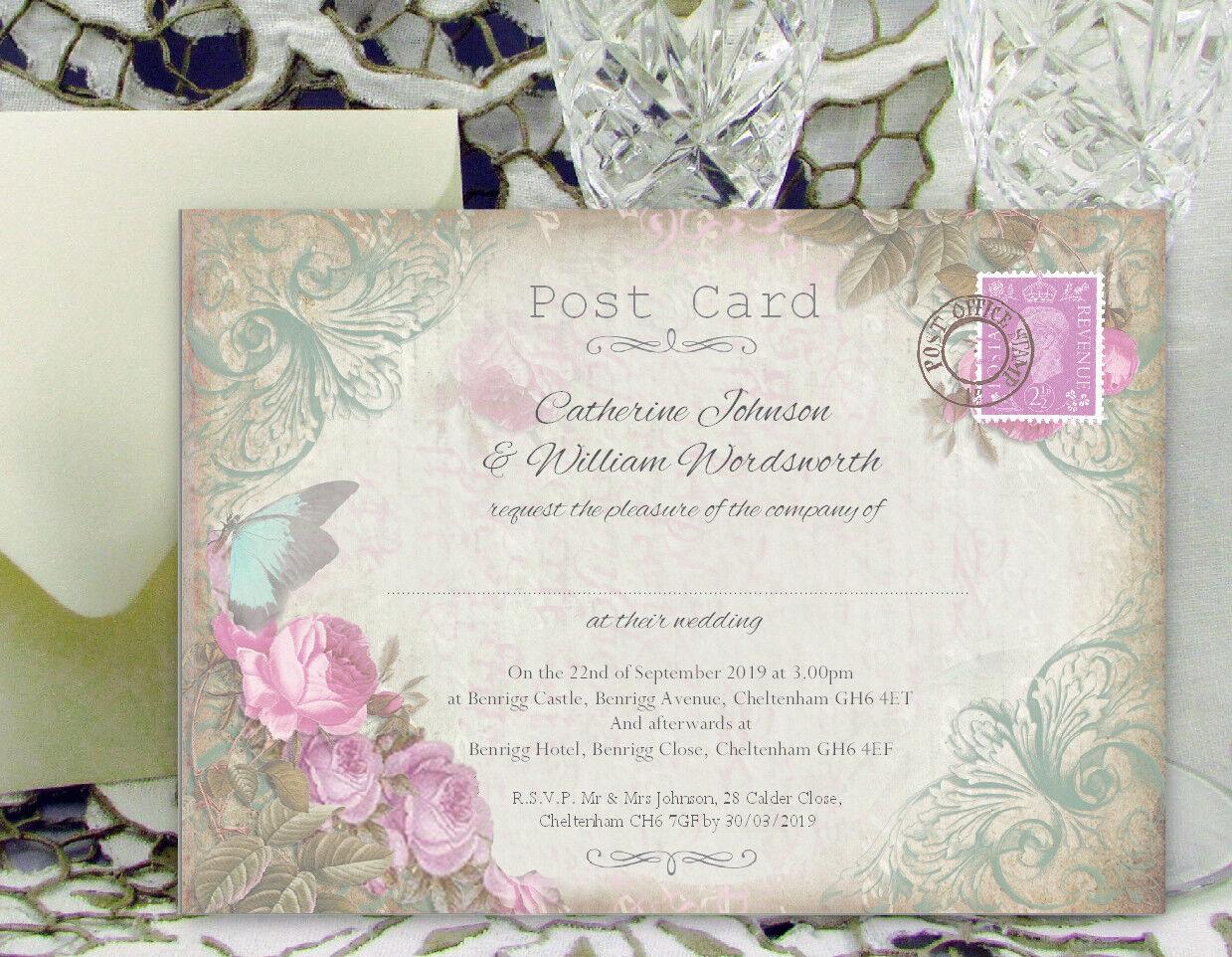 Personnalisé Mariage Invitations papillon bleu rose fleurs carte postale Design