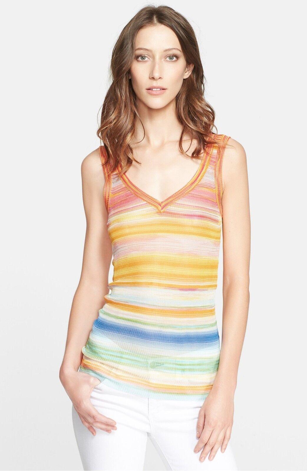NWT, Missoni Orange Label Stripe V-Neck Shell 40 IT (4 US)Multi