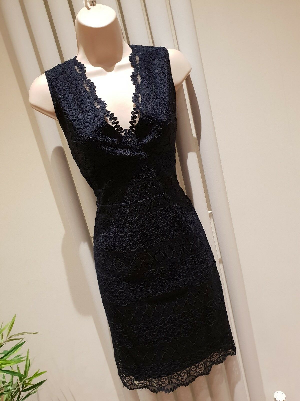 Stunning Lipsy Navy Lace Dress Size 10 New With Tags
