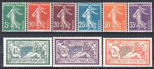 FRANCE-ANNEE-COMPLETE-1907-YVERT-137-145-9-TIMBRES-NEUFS-xx-LUXE-M903A