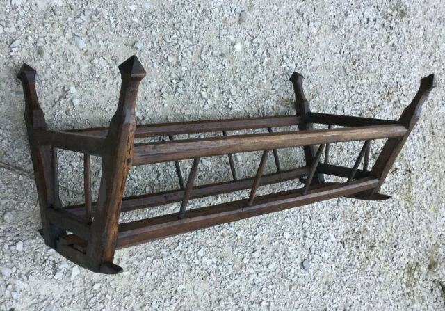 ANTIQUE French Wood Crib Cradle Moses BABY Bed CARRIER BASSINET Rocking 1800s