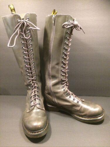 Doc Marten Knee High 20 Hole Grey Leather Boots w/