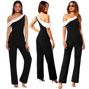 new concept 539c8 4a653 Dettagli su Vestito da sera donna jumpsuit tuta sexy abito elegante lungo  nero party DS64414