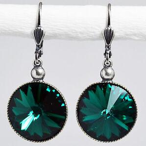 Ohrringe Ohrhänger Silber Altsilber Swarovski Kristall Rivoli Rund Emerald grün