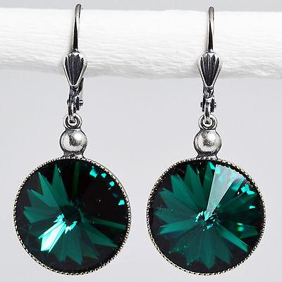 Grevenkämper Ohrringe Swarovski Kristall Silber Rivoli rund 14 mm grün Emerald