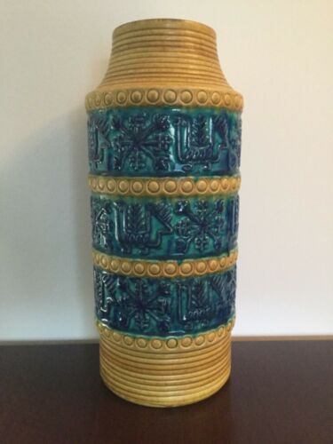 West German Pottery Vase Bay Keramik Form 64 40 Yellow Blue Green