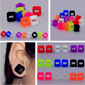 Square-Holow-Flexible-Silicone-Ear-Gauges-Flesh-Tunnels-Plugs-Stretcher-Piercing