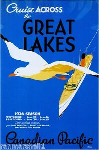 1936 Pacific Great Lakes Vintage Canada Canadian Travel Advertisement Poster
