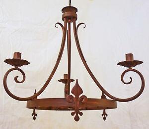 Lampadari In Ferro Battuto Antichi.Dettagli Su Lampadario Con 3 Luci A Ruota Personalizza Antico Rustico Ferro Battuto Art 270