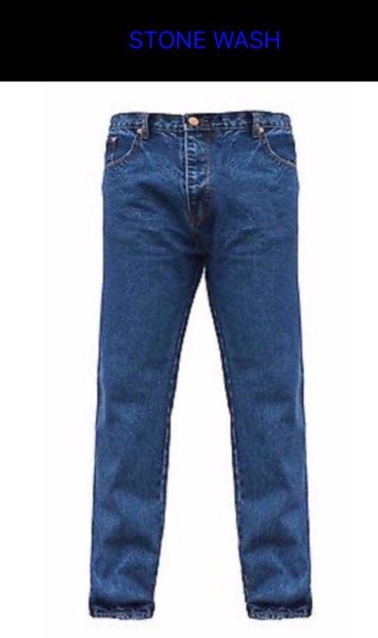 New Mens Straight Leg Plain Denim Jeans heavy duty All Waist & Sizes.