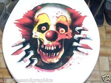 toilet Seat EVIL CLOWN Full color Graphic Decal Sticker Decals Stickers Skull
