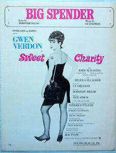 Broadway-Sheet-Music-BIG-SPENDER-from-SWEET-CHARITY-1965-Gwen-VERDON-Cy-COLEMAN