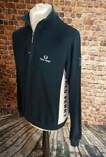 Vintage Fred Perry Navy Blue Zip Neck Jumper  Small Mens Mod Ska Scooter Retro