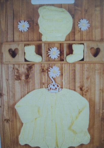 6 mths DK Baby Girl Matinee Cardigan bonnet booties KNITTING PATTERN Premature