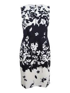 DKNY-Women-039-s-Printed-Scuba-Sheath-Dress-10-Ivory-Black