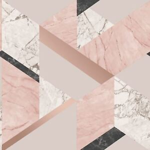 image is loading geometric marble wallpaper blush pink rose gold fine