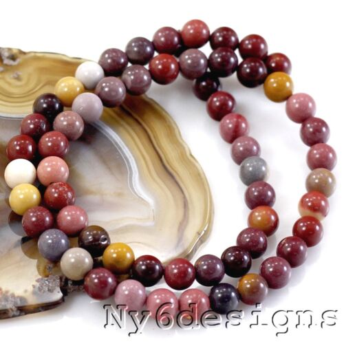 """Natural Gemstone Mookaite Smooth Loose Spacer Round Beads 15/"""" 4 6 8 10 12 14mm"""