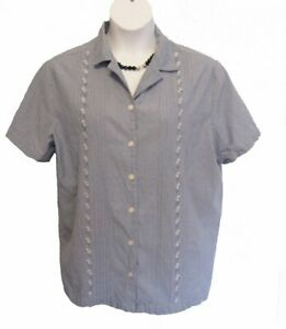 Chambray Shirt Plus Size 1X 14W 16W Floral Blouse Pintucked Blue Jennifer Moore
