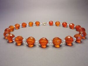 Fabulous-Vintage-Bohemian-Fiery-Orange-amp-Clear-Crystal-Glass-Bead-Necklace