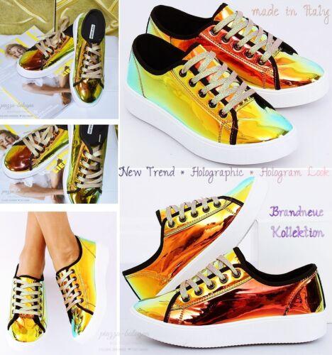 Hologram ♡ Sneakers Reflex Metallic Nuovo nero Gr Italia 40 Shimmer Oro giallo qHwxTYE