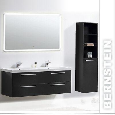 Badmöbel Set Doppelwaschbecken Badezimmermöbel Lichtspiegel Lackiert 144cm