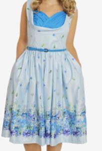 Nuevo-Lindy-Bop-Talla-10-Ofelia-Azul-Floral-Vestido-De-Swing-Rockabilly-Vintage-40s-50s