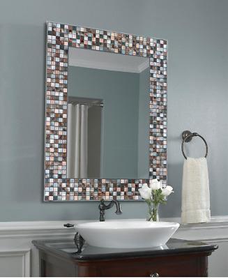 Bathroom Vanity Wall Mirror Gl Mosaic Rectangle Frameless Hand Crafted Bronze Ebay