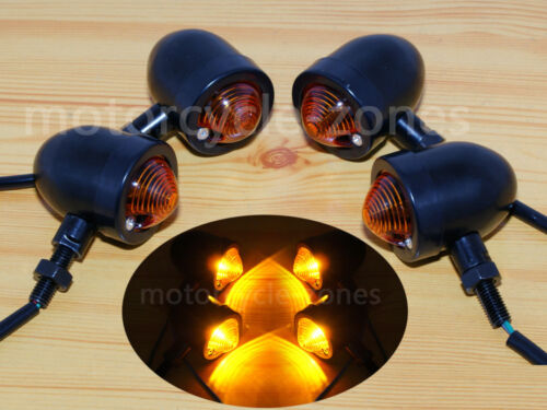 4x Black Bullet Universal Motorcycle Turn Signals Indicator Amber Blinker Lights