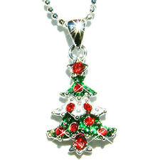 w Swarovski Crystal ~Red Green XMAS TREE~ Charm Pendant Necklace Holiday Jewelry