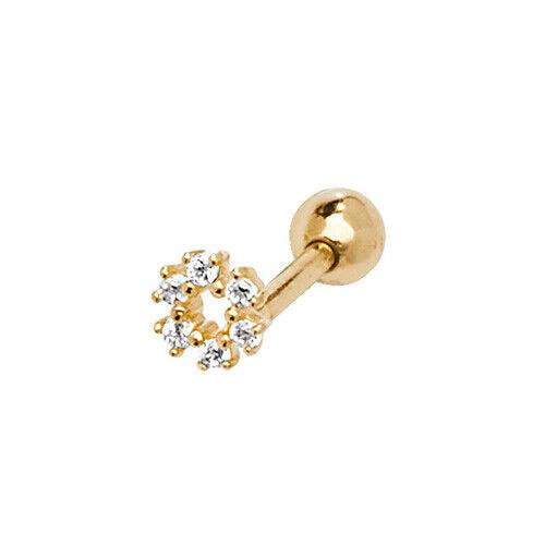 Auténtica 9ct Oro Superior Helix Cartílago Arito diamante simulado en Caja De Regalo