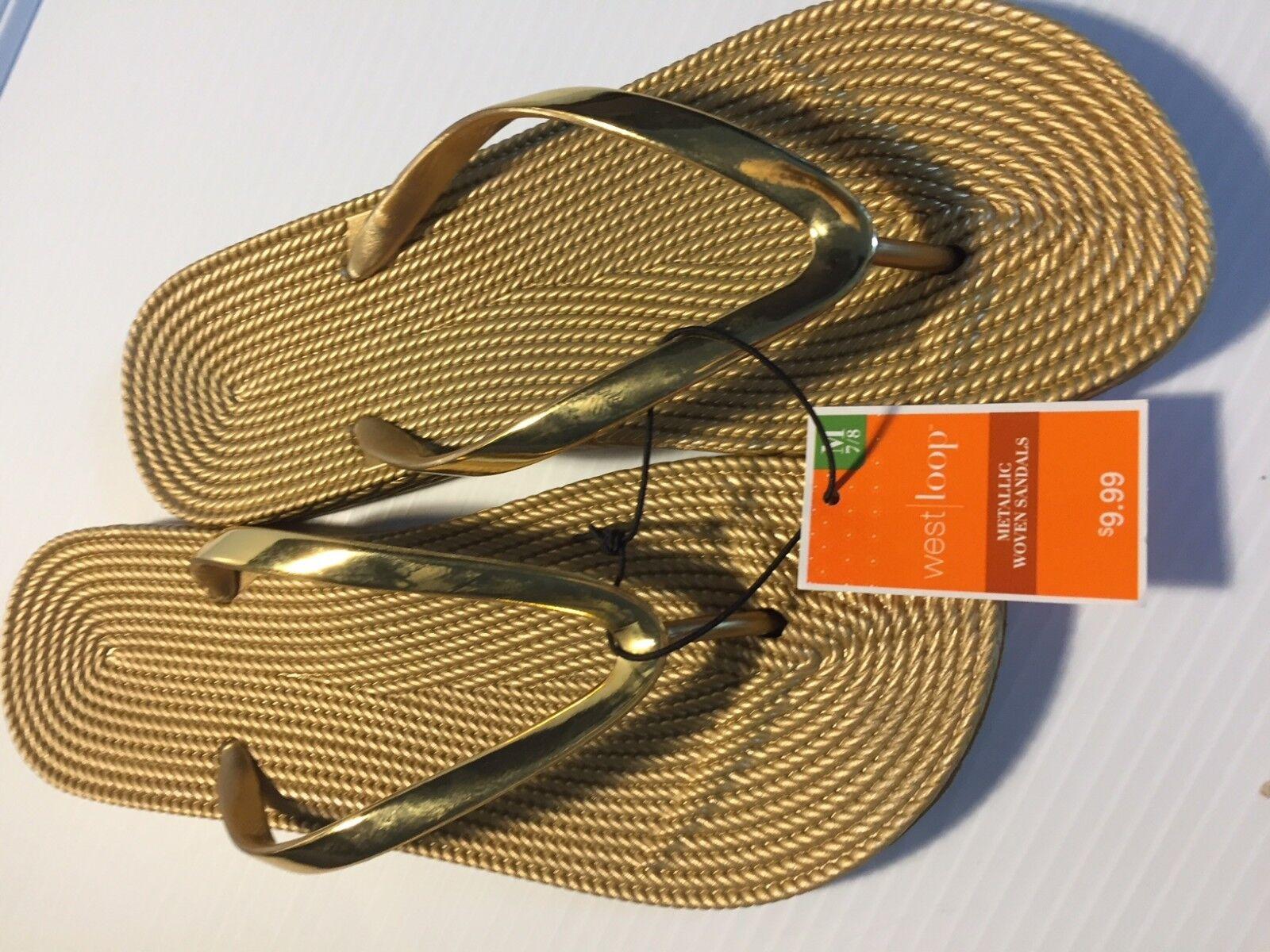 West Medium Loop Metallic Woven Sandals Women Gold Color Medium West Size 7 / 8 238296