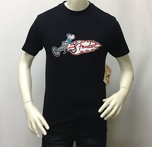 Fender-Men-039-s-Vintage-Retro-Music-Embroidered-Graphic-T-Shirt-Hot-Rod-Biker-Girl