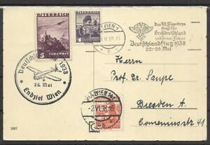 1938 AK WIEN DEUTSCHLANDFLUG NR 567+568+598  WIEN NACH DRESDEN  (2808)
