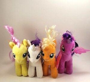 "My Little Pony Plush Stuffed Toy TY 7"" Lot of 4 Twilight Rarity Apple Fluttershy"