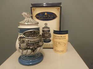 ANHEUSER-BUSCH-COLLECTOR-CLUB-10TH-ANNIVERSARY-CHARTER-MEMBER-EDITION-STEIN-NOS