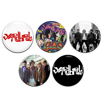 1 Inch D Pin Button Badges 5x The Yardbirds Band 60/'s 25mm