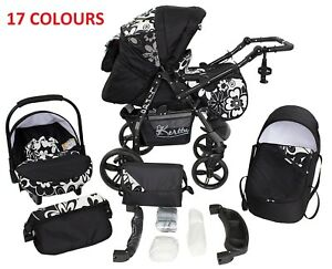 Baby Pram Pushchair Buggy Stroller Carrycot Car Seat Twi 3in1 Travel