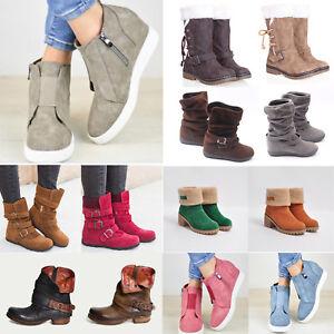 Womens Hidden Wedge Snow Boots Low Mid Heel Buckle Ankle