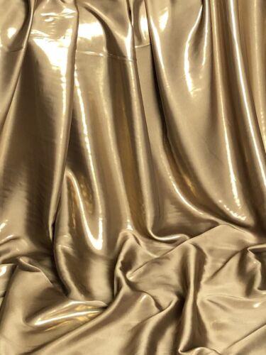 "1 x compteur Gold Wet Look Brillant Satin Tissu Mariage danse robe de soirée 58/"""