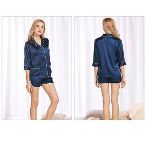 6de32c0f8c Top Shorts Set Pyjamas Women Silk Feel Nightie Sleepwear Lingerie ...