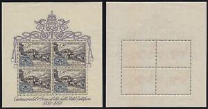 """Vaticano 1952 """"Centenario 1° francobollo"""" foglietto n.1 nuovo MLH*/MNH**"""
