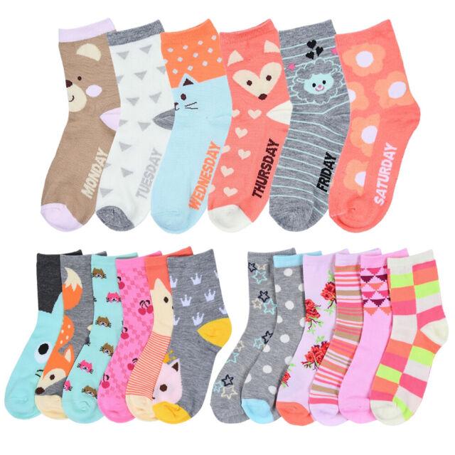 12 Pair Girls Socks Size 6-8 Crew Low Cut Quarter Kids Novelty Assorted Designs