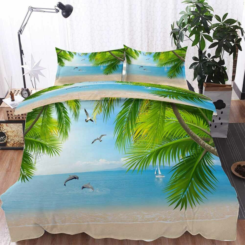 Blau Dolphin Sea 3D Printing Duvet Quilt Doona Covers Pillow Case Bedding Sets