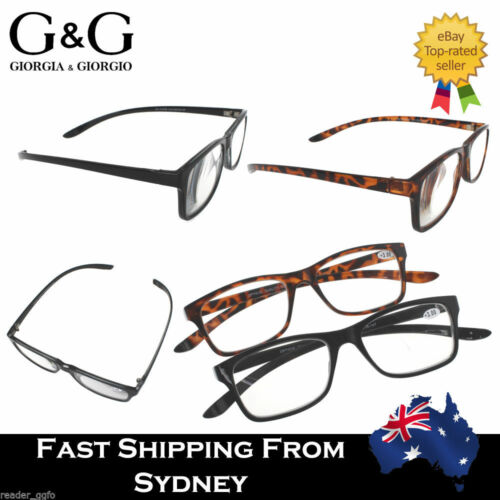 G&G Ladies Men Wrap Around Reading Glasses Comfortable Black Brown 1.0 1.5 4.0